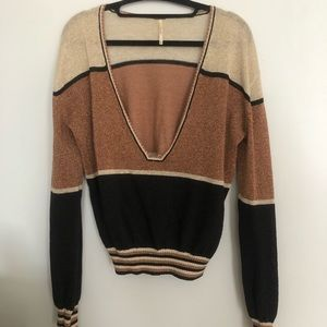 SEXY SHIMMERY LOW CUT SWEATER